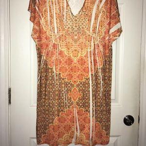 Orange plus size flowy dress